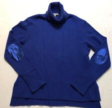Neiman Marcus Cashmere Collection Blue 100% Cashmere Turtleneck Sweater L Elbow