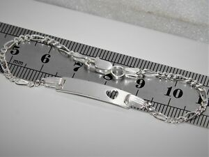 Sterling Silver (925) Child's / Children's ID Figaro Bracelet With Heart Detail