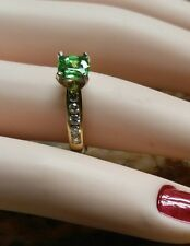 14K Natural Cushion Cut Tsavorite and Diamond Ring. 1.39 CTW Rare Gemstone