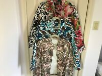 Woman's Chico's size 2 lot of three cotton multicolored cotton jacket tops