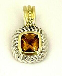 David Yurman Sterling Silver & 14K Yellow Gold Citrine Pendant