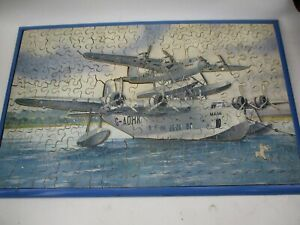 Vintage Victory Wooden Plywood 3D Seaplane Jigsaw Puzzle with Wooden Tray Frame
