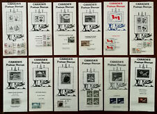 Canada's Postage Stamps 12 Vintage Stamp Information Sheets with Stamps 1960's