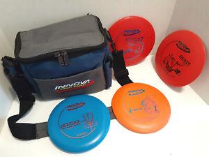 Innova Disc Golf Shoulder Bag Blue Gray with 4 Discs Frisbees - Excellent Cond!