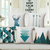 """18""""  Home Cotton Linen Car Bed Waist Cushion Throw Pillow Case Square Cover Gift"""