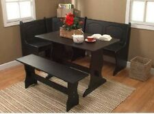 Breakfast Nook Table And Bench Corner Black Storage Wood Kitchen Seats 6 Eating