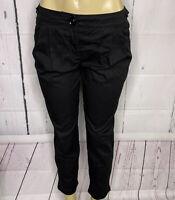 Burberry London Pants Ankle Slacks Solid Black Pleated Front Women Sz 6