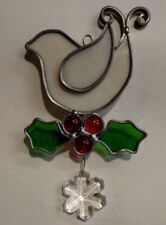 Holly Bird Christmas Themed  Stained Glass   Suncatcher
