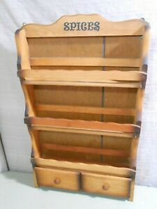 Vintage Wood SPICE Shelf / Rack with Drawers