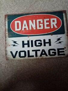 Wooden Sign New Danger High Voltage 300x225