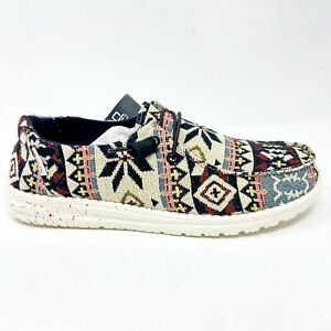 Hey Dude Wendy Woven Black Aztec Womens Casual Lightweight Shoes 121414812