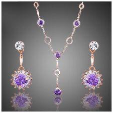 S1 Made Using Swarovski Crystals The Alesandra Rose Gold Purple Necklace $198