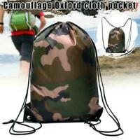 Camouflage Backpack Drawstring Bag Travel Sport Bags Outdoor H9J3