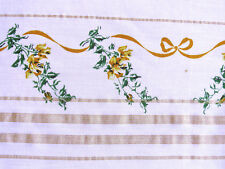 1950s Vintage YELLOW ROSES Tablecloth Gold Threads Table Linens  AS IS