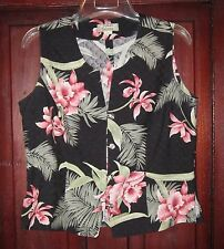Tommy Bahama S Button Down Vest Shirt Top Sleeveless Hawaiian Floral Print Silk