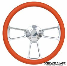 "14"" Aluminum Orange Steering Wheel to Hot Rod 3 Bolt Adapter Column Grant"