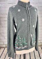 WINTERSILKS Full Zip Sweater Cardigan Jacket Women's XL Gray Winter Snowflakes