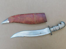 Vintage or Antique Recurve Dagger Khanjar with Sheath Silvered Brass Handle