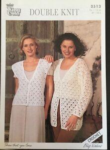 """DK Crochet Pattern ladies  Cardigan Waistcoat Size  30 / 44"""""""