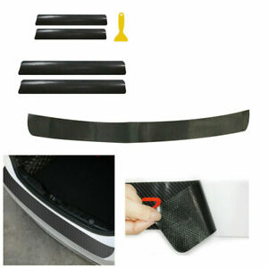Car Door Sill Cover Panel Step+Rear Guard Plate Scuff Protector Stickers 5Pcs
