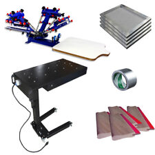 4 Color Screen Printing Press & Drying Materials kit with DIY Squeegee / Screen
