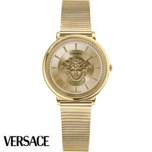 Versace VE8102219 V-Circle Lady gold Edelstahl Armband Uhr Damen NEU