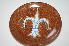 Alfaraz Spain Art Pottery Pin Dish Small Walll Plate Fleur-de-lis EUC