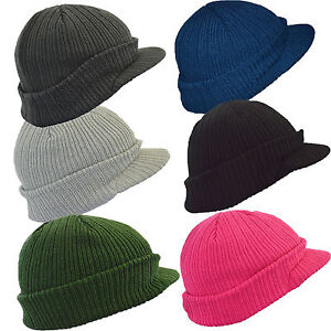 Euro Peaked Knitted Winter  Beanie Cap Hat in 6 Colours