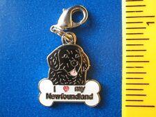 I love my Newfie Newfoundland Dog with Bone Bracelet dangle charm
