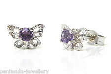9ct White Gold Amethyst filigree Butterfly Stud Earrings Gift Boxed studs