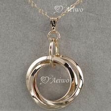 PENDANT NECKLACE 9K GF 9CT SOLID ROSE GOLD FILLED THREE RINGS SYDNEY STOCK
