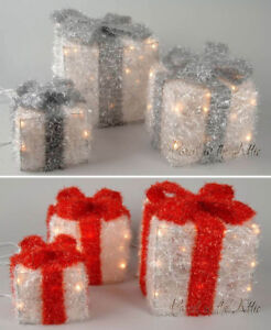 Christmas Pre-Lit Sisal Gift Boxes with Lights and Ribbon Table Top decoration
