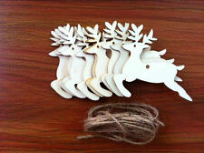 10X Wooden Leaping Deers Hanging Christmas Tree Blank Decor Xmas Gift Tag Shape