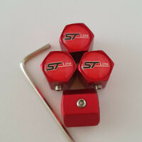 ST LINE Matte Red Locking Anti Theft Wheel Valve Dust caps all models FOCUS KUGA