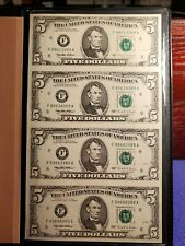 UNCUT SHEET OF (4) 1995 USA $5 FIVE DOLLAR ATLANTA FEDERAL RESERVE NOTES UNC