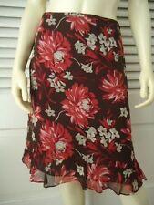 ANN TAYLOR PETITES 100% Silk Floral Print Flouncy Skirt 2P Lined Ruffle Hem CHIC
