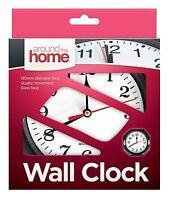 Wall Clock Black Surround Quartz Movement Glass Face Home Office Kitchen Bedroom