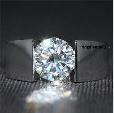 2 Ct Forever Off White Moissanite Mens Engagement Ring 925 Sterling Silver