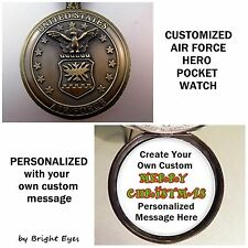 "CUSTOM Personalized USA Air Force Military Pocket Watch 31"" Necklace Veterans"