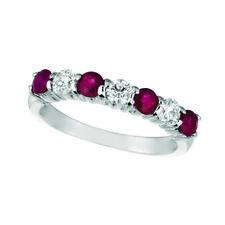 1.65 Carat Natural Diamond & Ruby 7 Stone Ring Band 14K White Gold