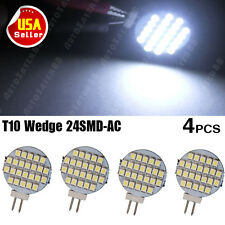 4X Pure White G4 12V AC/DC LED 24-SMD Home Car Cabinet RV Marine Boat Light Bulb