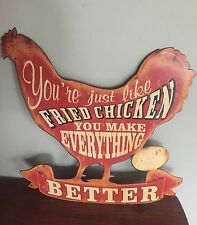 Huge FRIED CHICKEN Sign Country Farmhouse Coop Decor Kitchen Metal Vintage Look