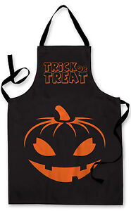 Splashproof Novelty Apron Trick or Treat Pumpkin Cooking Painting Kitchen BBQ
