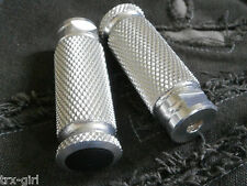 Universal moleteado Rearset Estriberas Par M8 X 1.25 Pista De Carreras O Repuestos * Plata *