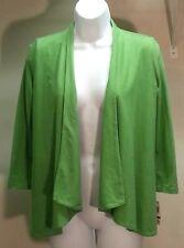 NWT $40 Charter Club Women's Green 3/4 Sleeve Open Front Top Blouse Sz: XS