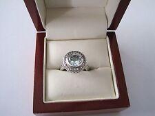 2CT Natural Aquamarine Sterling Silver Art Deco Filigree Ring Sz 6 and 8