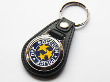 RESIDENT EVIL RACCOON POLICE Video Game Premium Leather & Chrome Keyring