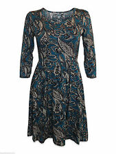 Round Neck 3/4 Sleeve Synthetic Floral Dresses for Women