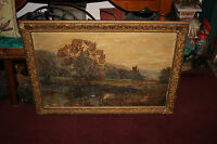 Antique Landscape Oil Painting Signed SCHARTT Cows Grazing Water Flower Trees