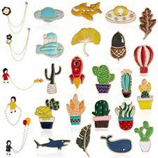 Cartoon Enamel Leaf Cactus Piercing Brooch Pin Collar Badge Corsage Jewelry Gift